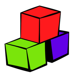 Three colored cubes icon icon cartoon vector