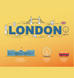 traveling in london with landmark icons on yellow vector image