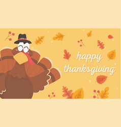 Turkey with pilgrim hat leaves happy thanksgiving vector