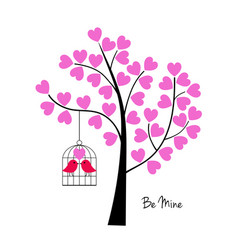 Valentines day birds with tree and birdcage vector