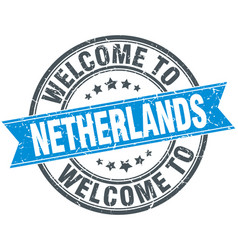 Welcome to netherlands blue round vintage stamp vector