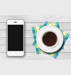 White smartphone with black blank screen and cup vector