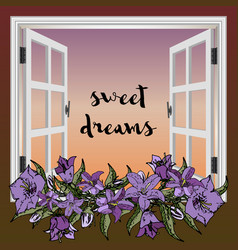 window with flowers sunset vector image