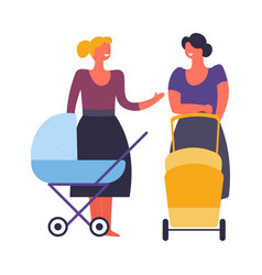 women mothers with prams and babies walking vector image
