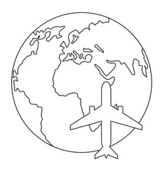 world tourism icon outline style vector image