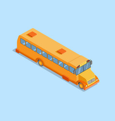 Yellow school bus isometric projection 3d flat vector