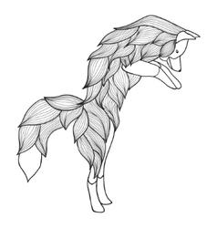 Zentangle jumping Fox vector