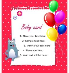 Baby Happy birthday card pink vector image