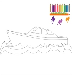 Coloring page with sea ship vector image