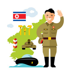 concept north korea flat style colorful vector image vector image
