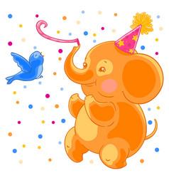 festive joyful cute elephant and the bird are vector image