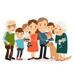Happy big family portrait vector image