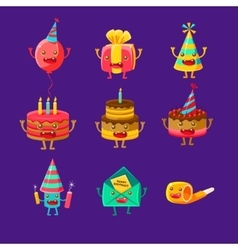 Happy Birthday And Celebration Party Symbols vector image vector image