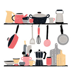 kitchenware on shelf and table stylized hand vector image vector image