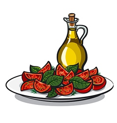 salad with basil vector image