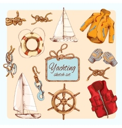 Yachting sketch set vector image vector image