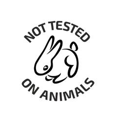 Animal testing black logo icon with rabbit vector image
