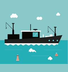 boat ship sea design vector image vector image