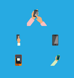 flat icon phone set of telephone keep phone vector image vector image