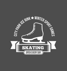 ice skating label logo set vector image