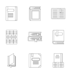Reading icons set outline style vector image