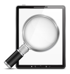 Tablet computer with magnifying glass vector image vector image