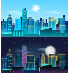 big city day and night landscape skyscrapers in vector image