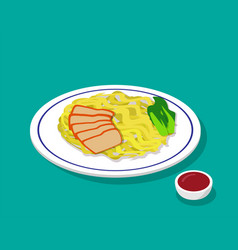dry egg noodle soup with roast pork in 3d style vector image vector image