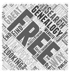 free genealogy database Word Cloud Concept vector image