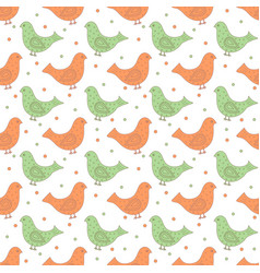 green and orange ornate birds with dots in the vector image