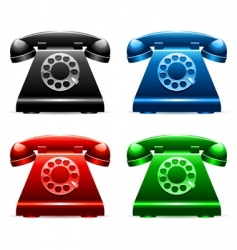 retro telephones vector image vector image