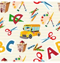 School stationery supplies pattern vector