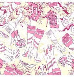 Seamless pattern with women boots and fashion vector image vector image