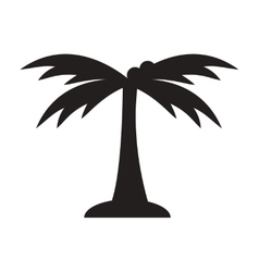 black icon on white background palm tree vector image