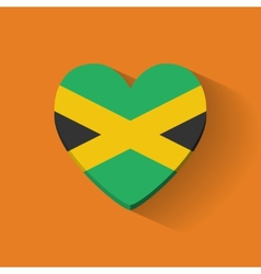 Heart-shaped icon with flag of Jamaica vector image vector image