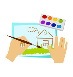 two hands drawing with paint and brush elementary vector image