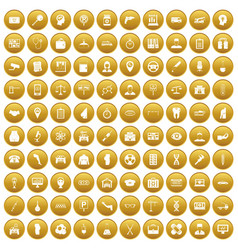 100 business day icons set gold vector