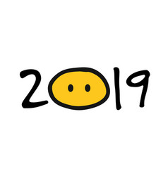 2019 pig year for your design vector