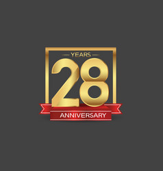 28 years anniversary logo style with golden vector