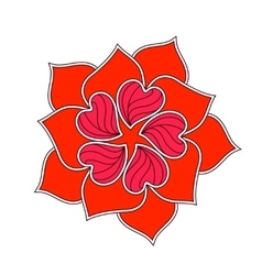 Abstract Flower From Red Heart Over White vector image
