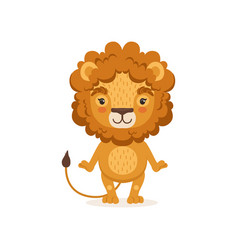 Adorable lion cartoon character standing and vector