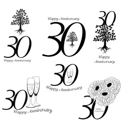 Anniversary 30th signs collection vector