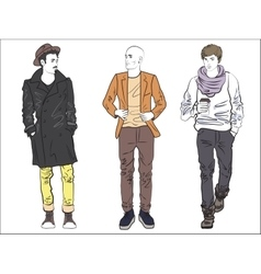 Attractive modern fashionable man set in fashion vector image