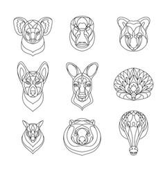 australian animals outline coloring set vector image