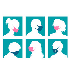 avatars in medical masks vector image
