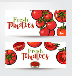 Banners with ripe red tomatoes salsa bowl place vector