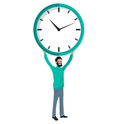 Bearded man holding clock in hands time is money vector