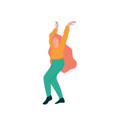 beautiful young woman dancing wearing casual vector image