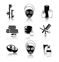 Black and white spa icons set vector image