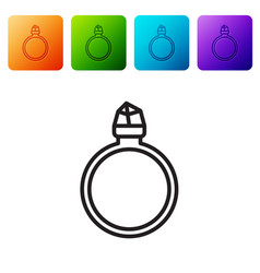 Black line diamond engagement ring icon isolated vector
